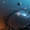 Cosmic matter spiraling into a black hole