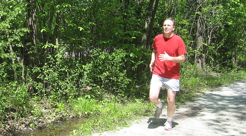 Bob jogging on the Green Bay Trail