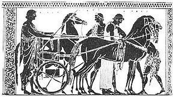 Greek frieze, hitching horses to a chariot