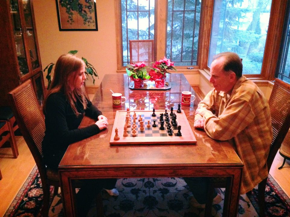 Bob and Emily play chess with their own chess board